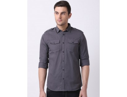 Grey Solid Shirt-DC